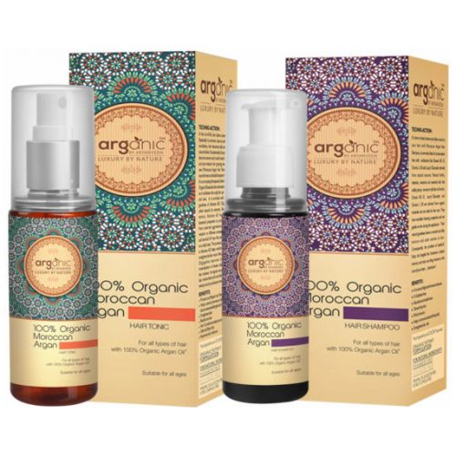 Moroccan Argan Hair Shampoo and Hair Tonic- Combo Pack